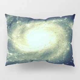 Ivory Teal Pinwheel Spiral Galaxy Space Pillow Sham