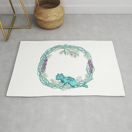 Squirrel and pinecorn wreath 03 Rug