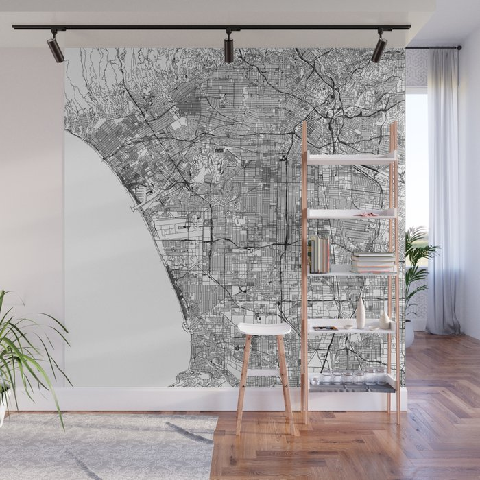 Los Angeles White Map Wall Mural by multiplicity on map t-shirt designs, map wall art, map book covers, map craft projects, map tattoo designs, map border designs, map wallpaper, map tiles, map art ideas, map canvas painting, map of america, map wall decal, map still life, map posters,