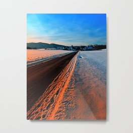 Winter road at sundown Metal Print