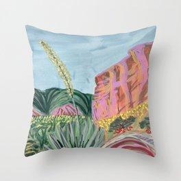 Colorful Pink Park Art Print Throw Pillow