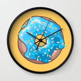 Blue Donut on Yellow Background Wall Clock