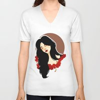 belle V-neck T-shirts featuring belle by chazstity