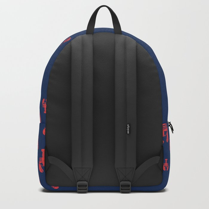 Lobster Squadron on navy background. Backpack