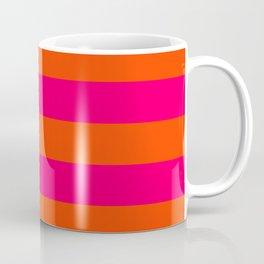 Bright Neon Pink and Orange Horizontal Cabana Tent Stripes Coffee Mug