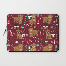 Bichpoo christmas dog breed holidays pet gifts pet friendly stockings candy canes snowflakes Laptop Sleeve