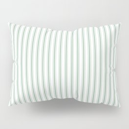 Mattress Ticking Narrow Striped Pattern in Moss Green and White Pillow Sham
