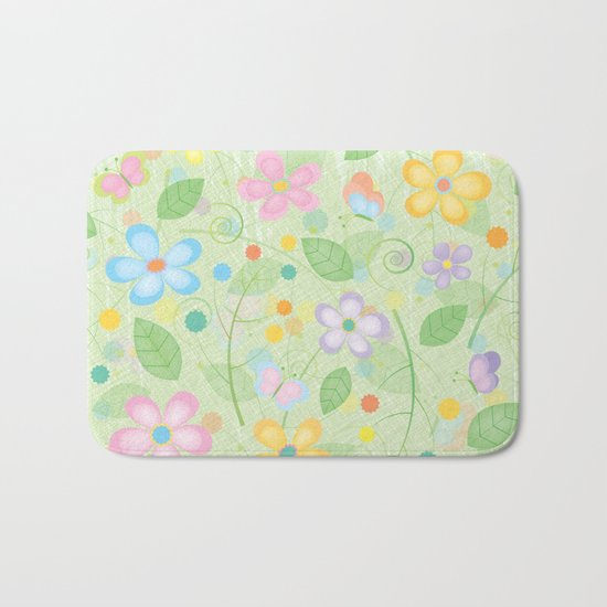 Floral and Butterfly Pattern - Spring Blossom Bath Mat