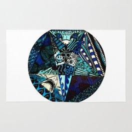 Blue Toned Pentagram Rug
