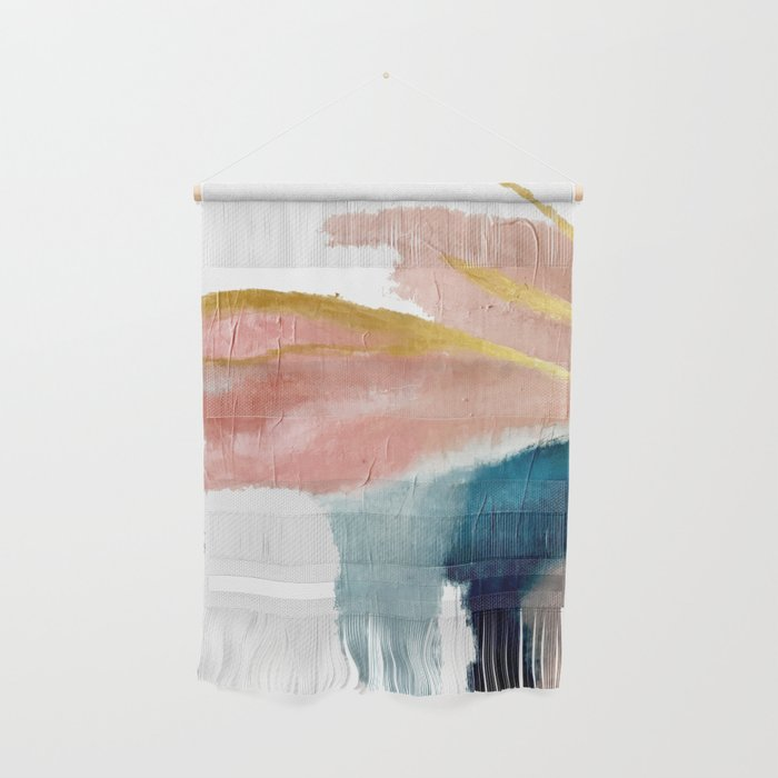 Exhale: a pretty, minimal, acrylic piece in pinks, blues, and gold Wall Hanging