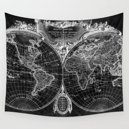 World Map (1775) Black & White Wall Tapestry