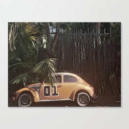 Vintage Car and Palm Tree Canvas Print