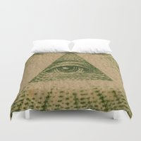 all seeing eye Duvet Covers featuring All Seeing Eye by GiantEvilPizza