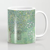 gustav klimt Mugs featuring Gustav Klimt - Rosebushes under the Trees by TilenHrovatic