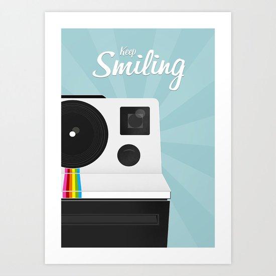 Keep Smiling! Polaroid Camera Art Print
