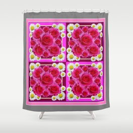 Fuchsia Rose Bouquet Garden Shasta Daisies Art Panels Grey Abstract Shower Curtain