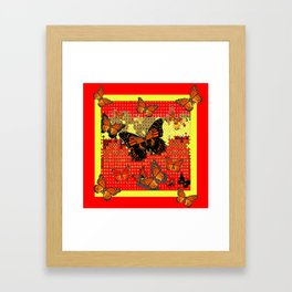 Red Abstracted Black & Orange Monarch Buttterflies Framed Art Print