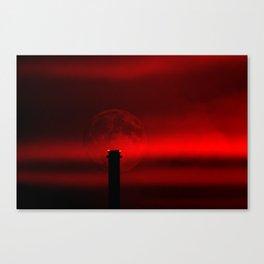 sunset, moon and flight limiting lights Canvas Print