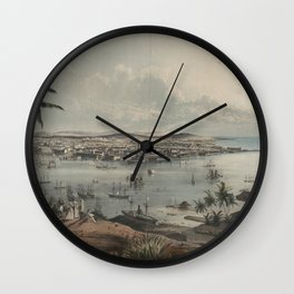 Vintage Pictorial Map of Havana Cuba (1851) Wall Clock