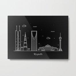 Riyadh Minimal Nightscape / Skyline Drawing Metal Print
