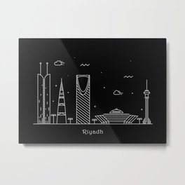 Riyadh Minimal Nightscape / Skyline Drawing Metal Print