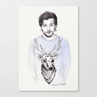 coconutwishes Canvas Prints featuring Louis and his deer by Coconut Wishes