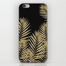 Golden Fern On Black Background iPhone Skin