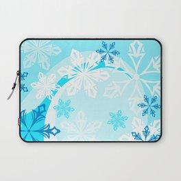 Blue Flower Art Winter Holiday Laptop Sleeve