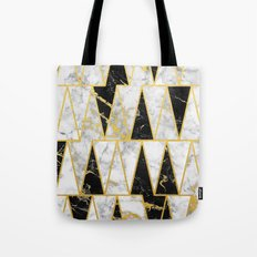Mixed Marble Triangles // Gold Flecked Black & White Marble Tote Bag