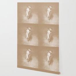Horse emerging from the mist in iced coffee beige Wallpaper