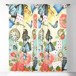 Alice In Wonderland Vivid Collage Blackout Curtain