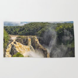 Beautiful wild waterfall Beach Towel