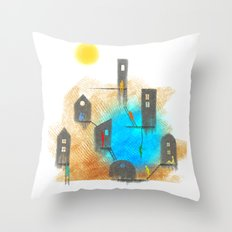 People and houses Throw Pillow