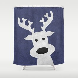 Christmas reindeer blue marble Shower Curtain