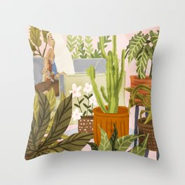 Playing For My Plants Throw Pillow