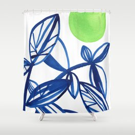 Navy blue and lime green abstract leaves Shower Curtain