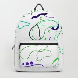 Flower Blue Gren minimal lineart Backpack
