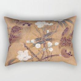 Sparrows, plum blossoms, and bamboo Rectangular Pillow