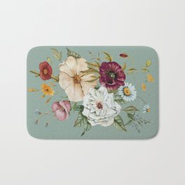 Colorful Wildflower Bouquet on Blue Bath Mat