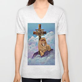 Lion of Judah at the Cross Unisex V-Neck