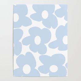 Large Baby Blue Retro Flowers White Background #decor #society6 #buyart Poster