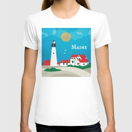 Maine - Skyline Illustration by Loose Petals T-shirt