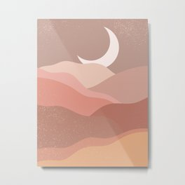 Minimalist Minimal Mountain Landscapes Colour Block Moon Pastel Neutral Colours Midcentury Modern Cool Magical Mystical Abstract Art Bohemian Boho Style Trendy  Metal Print