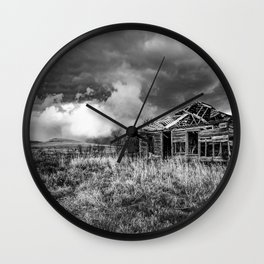 Glory Days - An Abandoned House and Storm in Kansas Wall Clock