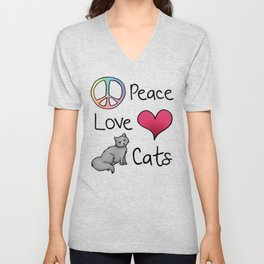 Peace Love Cats Unisex V-Neck