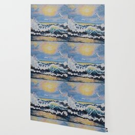 Impressionism Ocean Waves With Seagulls, Beach House Art and home decor Wallpaper
