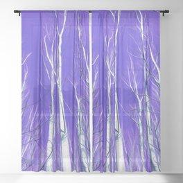 White Trees Intense Blue Sky In February Sheer Curtain
