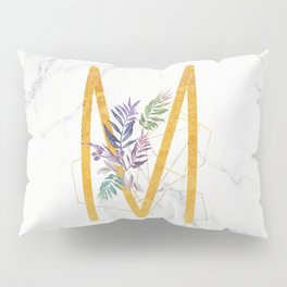 Modern glamorous personalized gold initial letter M, Custom initial name monogram gold alphabet prin Pillow Sham