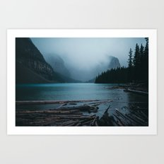 Foggy Moraine Art Print