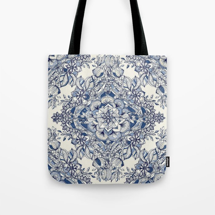 Floral Diamond Doodle in Dark Blue and Cream Tote Bag
